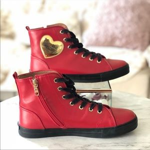 Love Moschino High Top Leather Red Sneaker